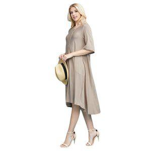 Khaki Tan Asymmetrical Dress with Pockets Drape